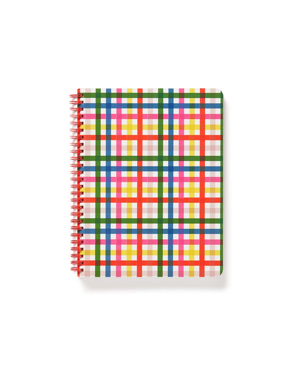 Red, green, blue, yellow and pink plaid spiral notebook with red spiral