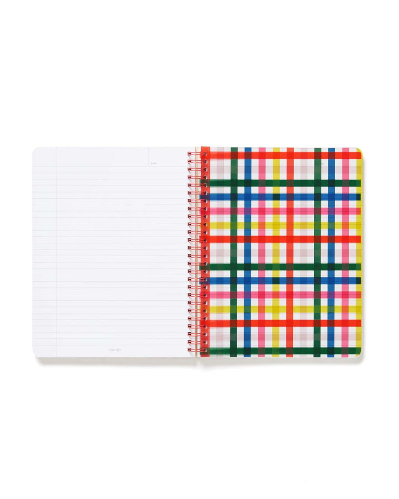 Back inside cover of notebook with plaid pattern