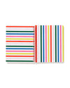 Middle pages of notebook with red, blue, green, yellow and pink stripes