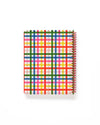 Back view of notebook with blue, green, yellow, red and pink plaid