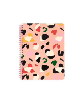 mini notebook with a colorful leopard design over a light pink cover
