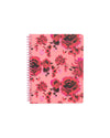 pink spiral bound notebook with red and pink roses