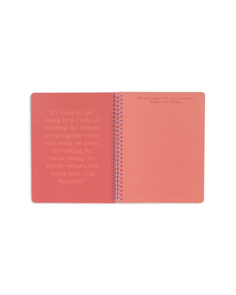 pink and red centerfold with inspirational quote and space to write