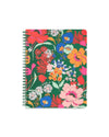 Emerald green mini notebook with floral pattern cover