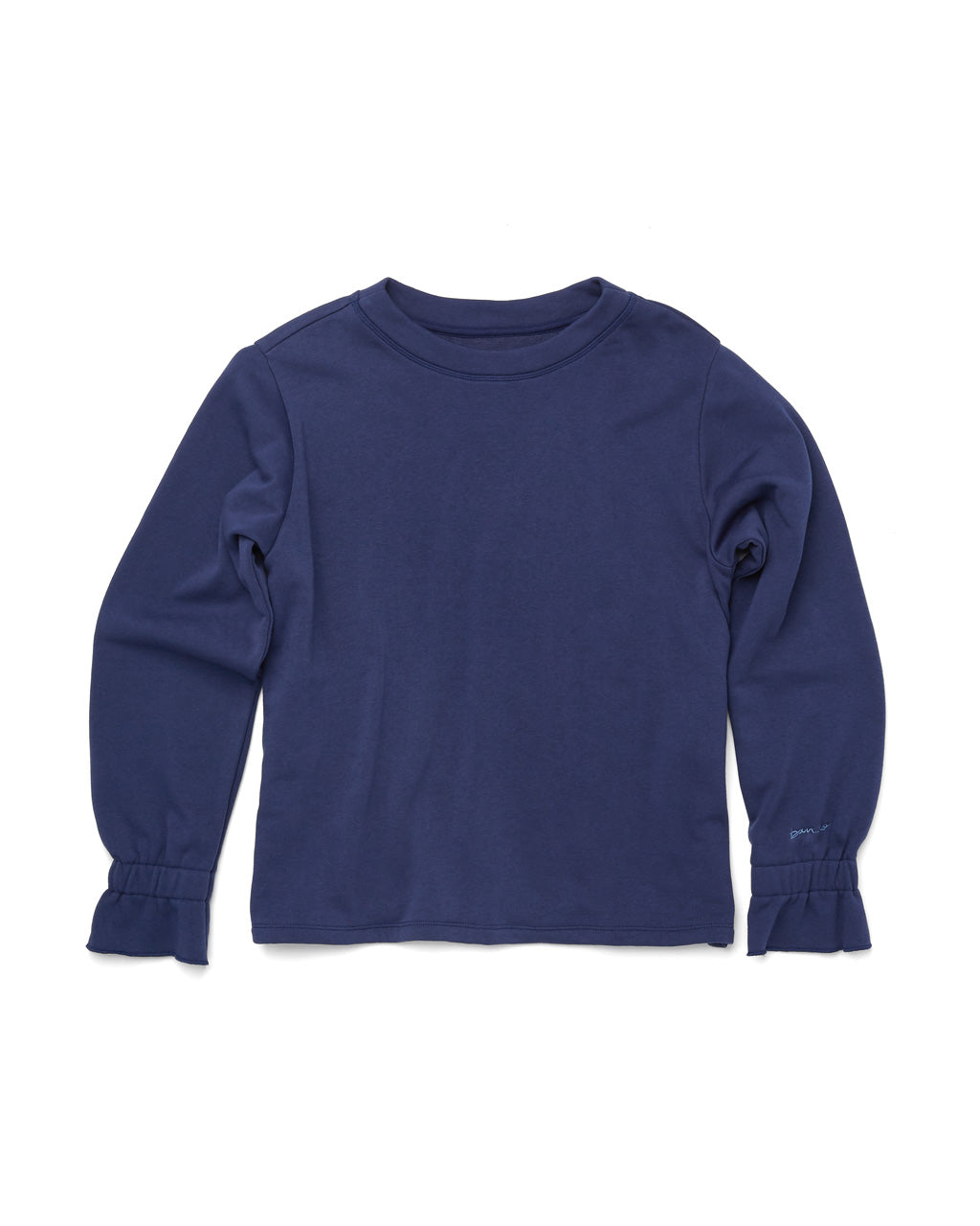 flat view of navy blue sweatshirt with ruffle elastic cuffs