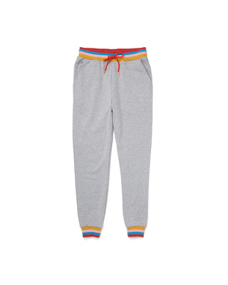 Heather grey sweatpants with rainbow waistband, cuffs, and a red drawstring.