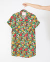 emerald super bloom leisure dress with short sleeves and a patch pocket