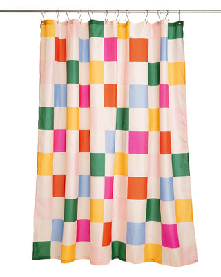 shower curtain with checkered squares in bright colors