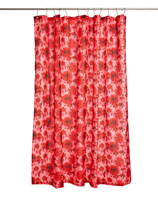 pink and red floral shower curtain