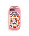 This iPhone case comes in a colorful design that looks like a beverage can labeled 'Double Rainbow'.
