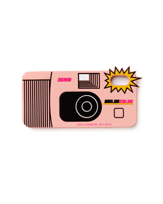 pink silicone iphone case in the shape of a 35mm disposable camera