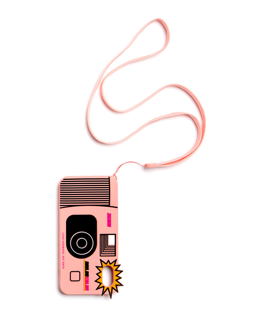 long pink strap attached to an iphone case shaped like a disposable camera