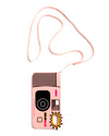 long cord attached to an iphone case that's shaped like a pink disposable camera