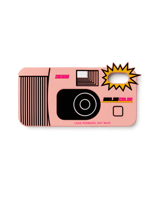 pink silicone iphone case in the shape of a disposable camera