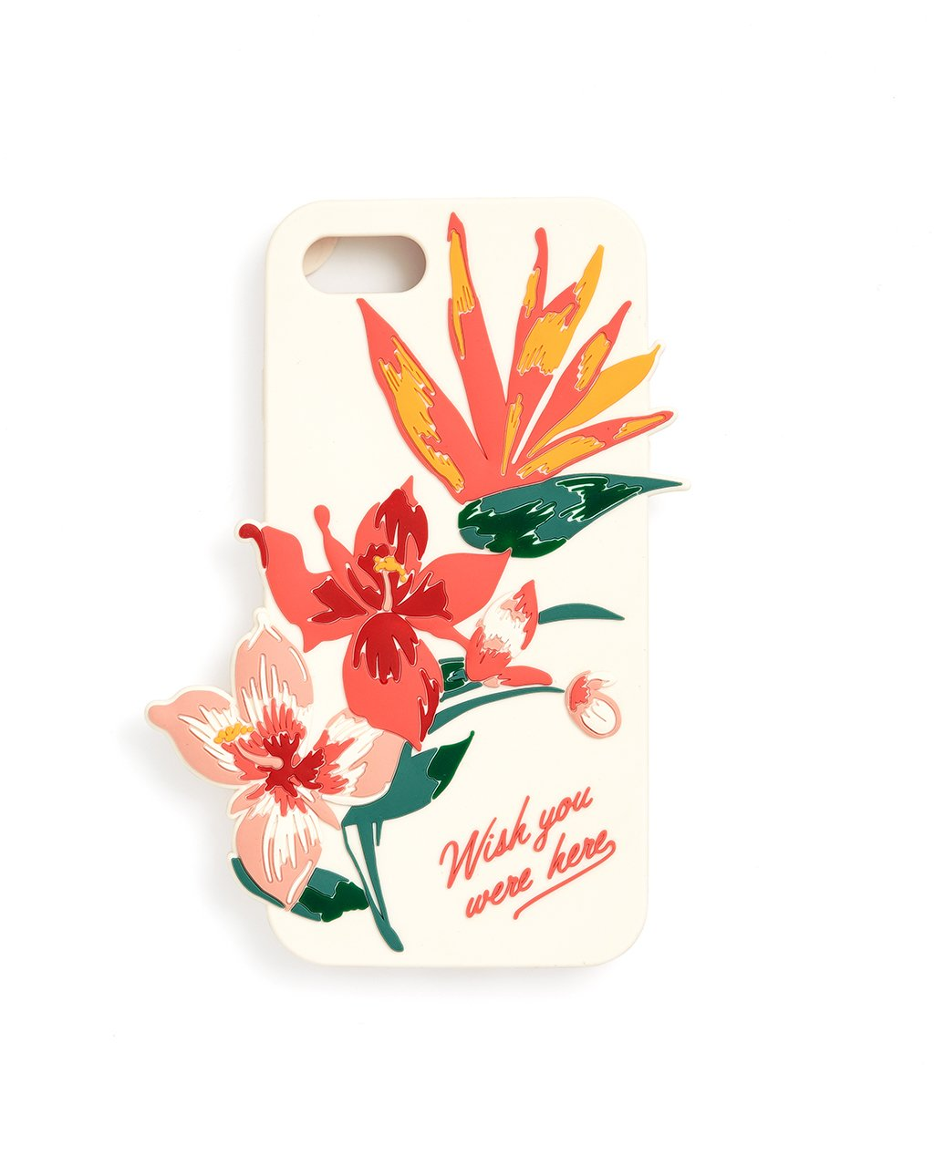 "ivory silicone iphone case with tropical flowers and the phrase ""Wish you were here"""