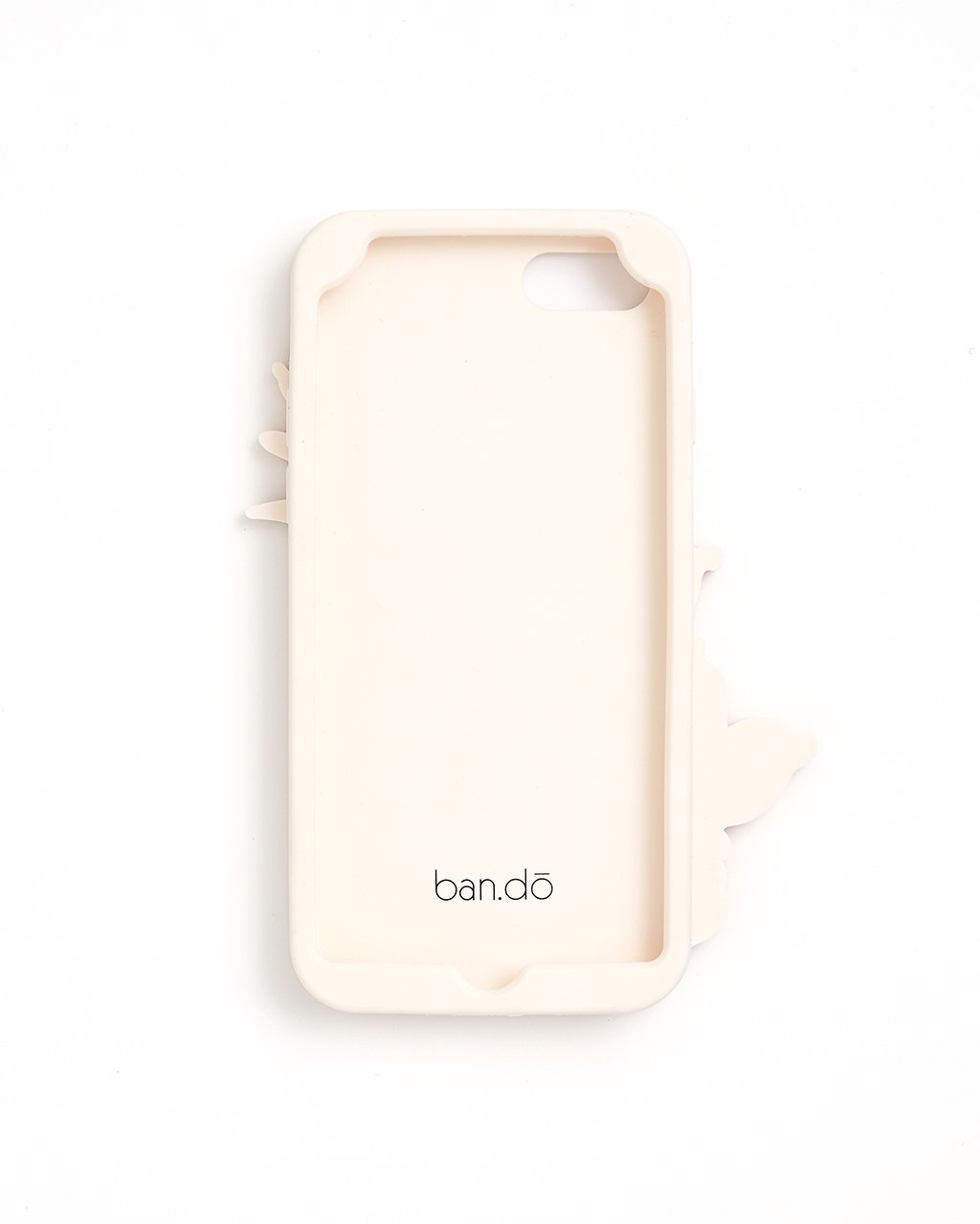 Interior view of ivory silicone iphone case with the ban.do logo
