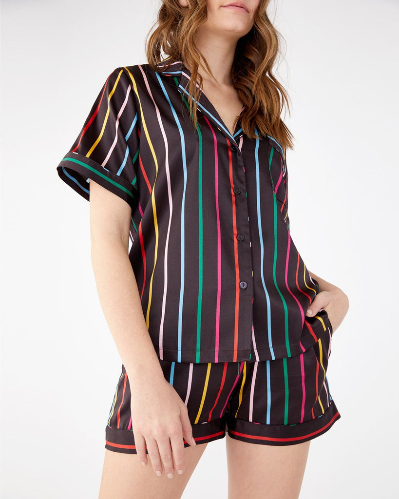 Short sleeve silk leisure top in disco stripe.