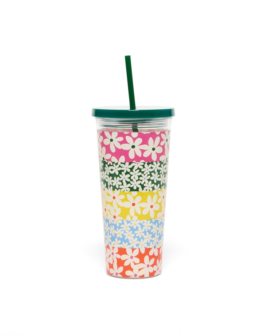 multi colored daisy acrylic tumbler with a solid green lid and straw
