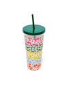 daisy tumbler includes solid green lid and straw