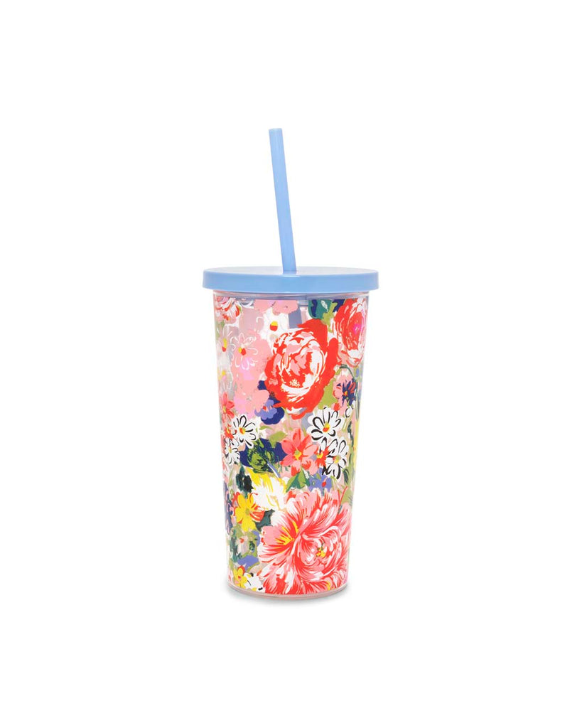 This Sip Sip Tumbler comes with a colorful floral pattern printed on the outside.