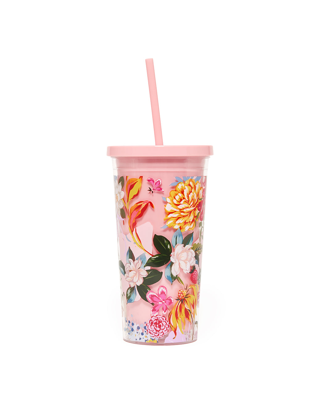 This Sip Sip Tumbler comes with a colorful floral pattern designed by Helen Dealtry printed on the outside.