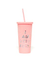 This Sip Sip Tumbler comes in pink, with 'I Am Very Busy' printed in metallic silver on the outside.