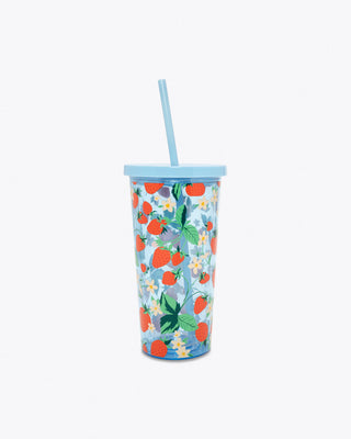 reusable tumbler with straw in blue strawberry floral pattern