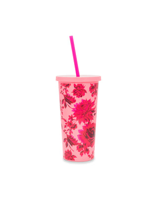 pink and red plastic floral cup with lid and straw