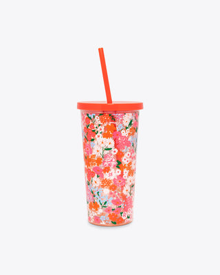 multi colored floral tumbler