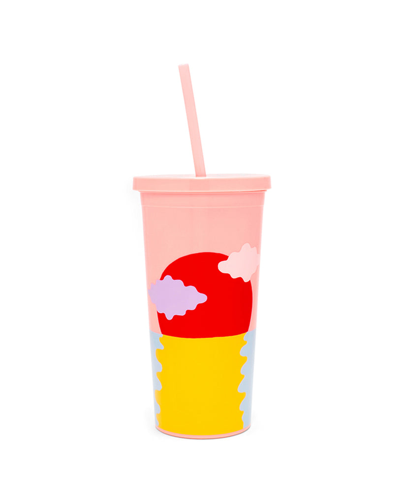 lidded cup with straw, with brightly colored sunset illustration