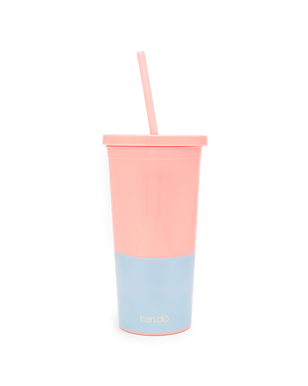 back of cup with straw, with pink top and blue lower portion