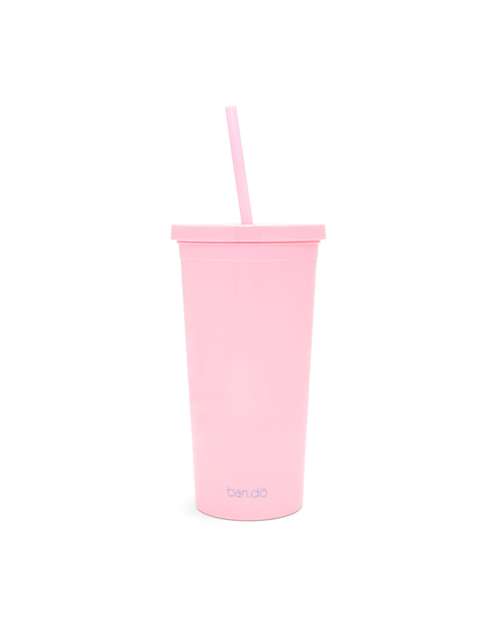 plain pink back up cup with ban.do logo at the bottom