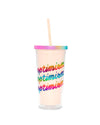 This tumbler comes in pale pink with a shiny rainbow lid and 'Optimism' printed in rainbow on the side.