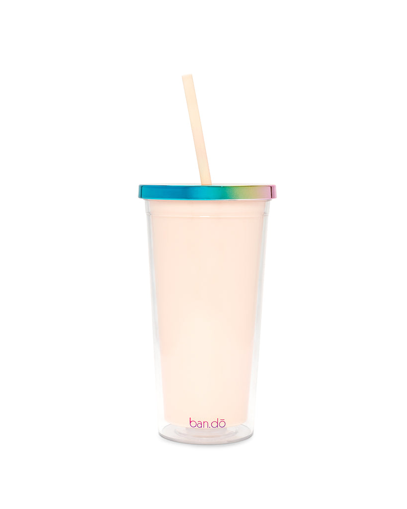 deluxe sip sip tumbler with straw - optimism