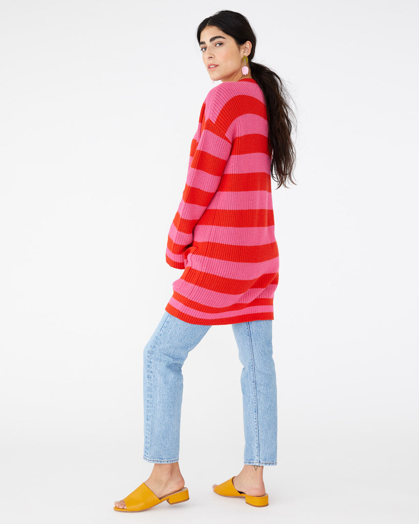 pink and red horizontal striped cardigan