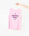 pink muscle tank with the words poolside fries in red and blue lettering shown on hanger