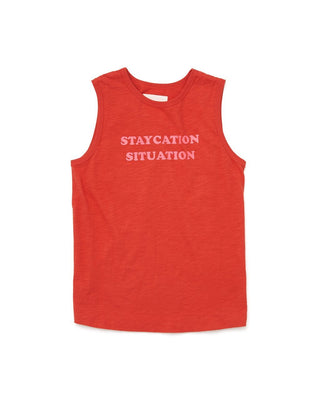 red muscle tank with the word staycation