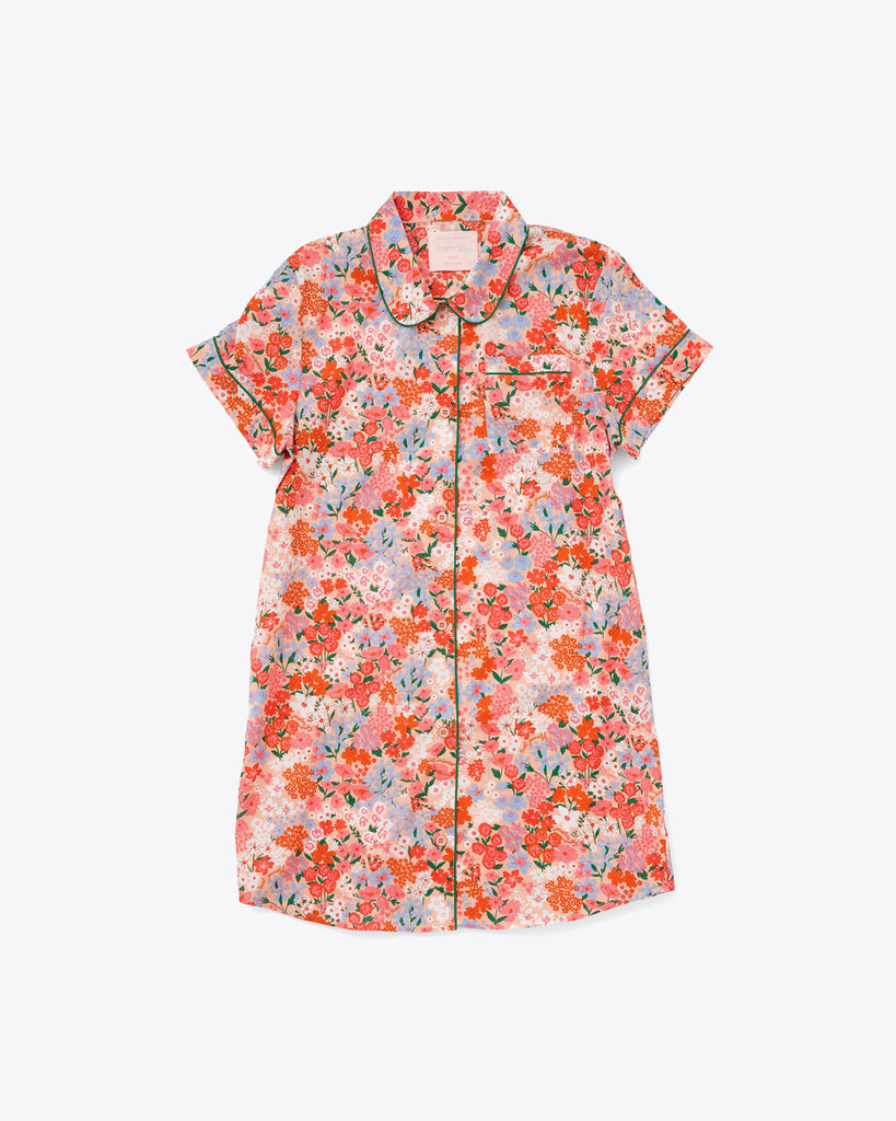 short sleeve leisure dress with a bright floral pattern