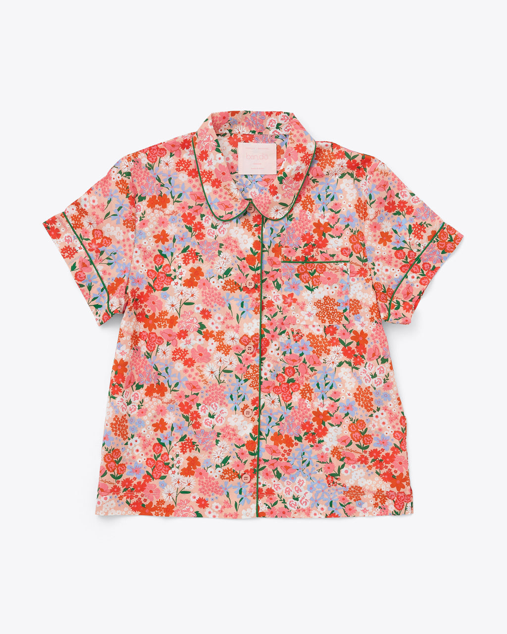 short sleeve leisure shirt with a bright floral pattern