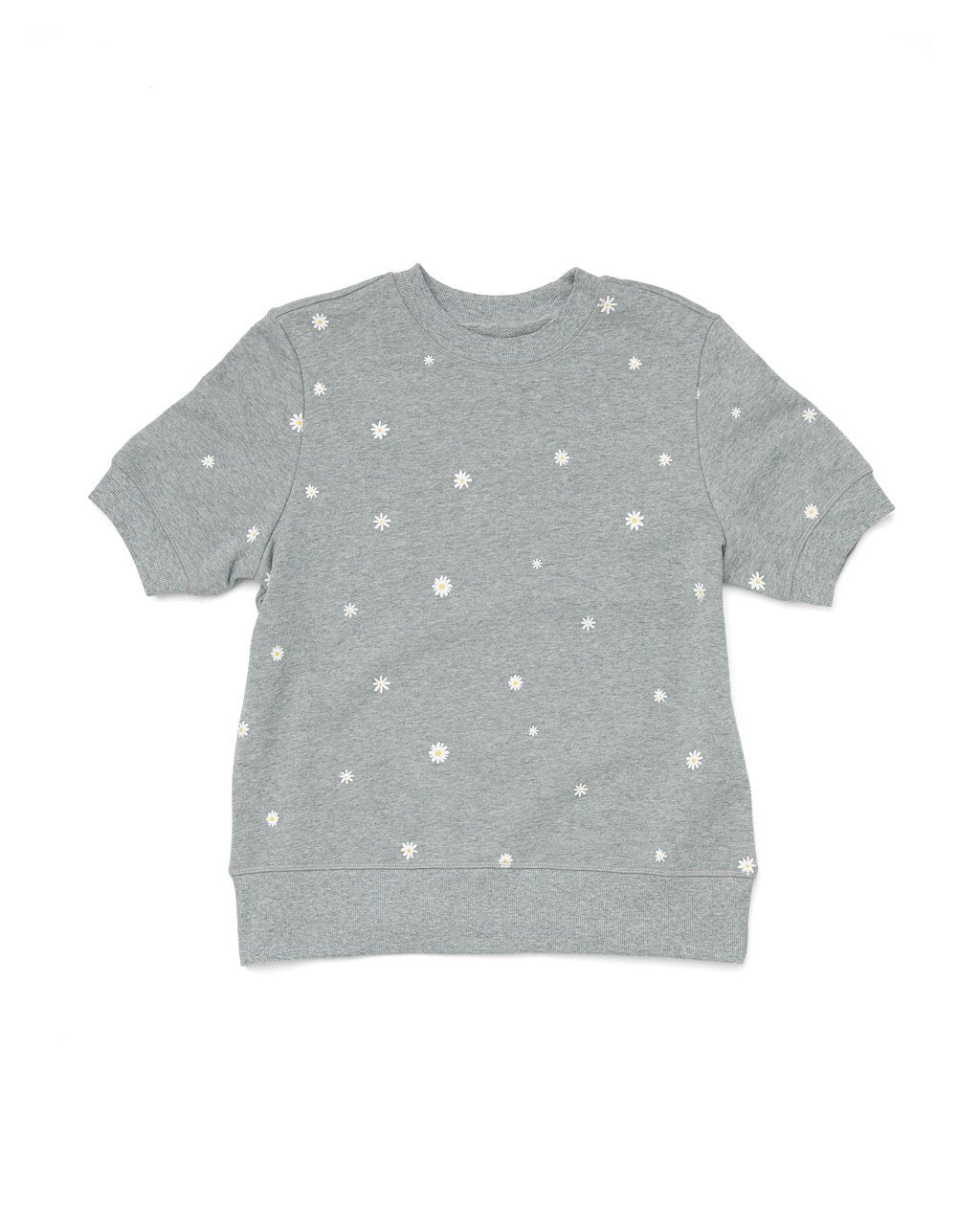 Grey short sleeve cropped sweatshirt with a spotted daisy pattern all over