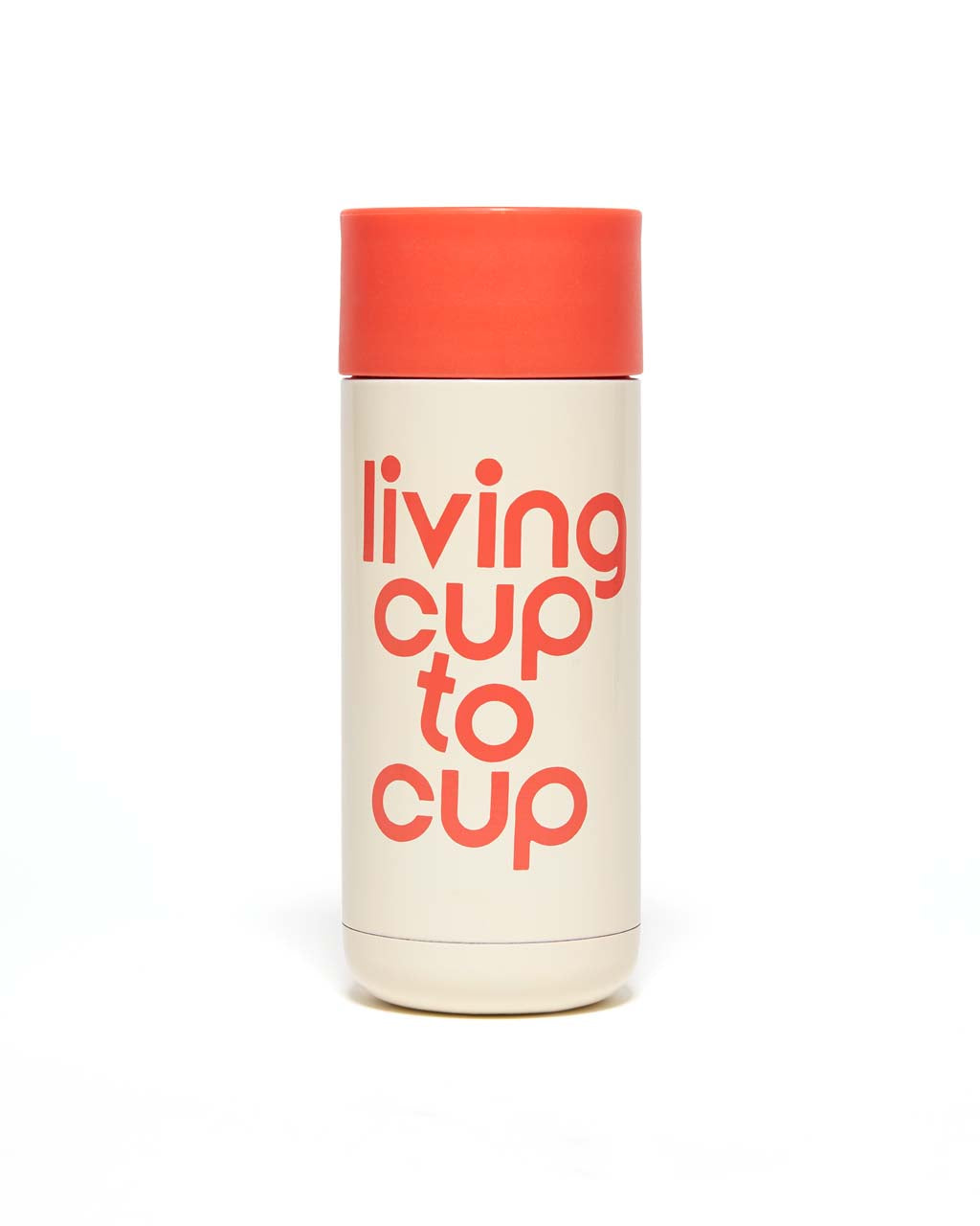 This Thermal Mug comes in white and red, with 'Living Cup To Cup' printed in red on the side.