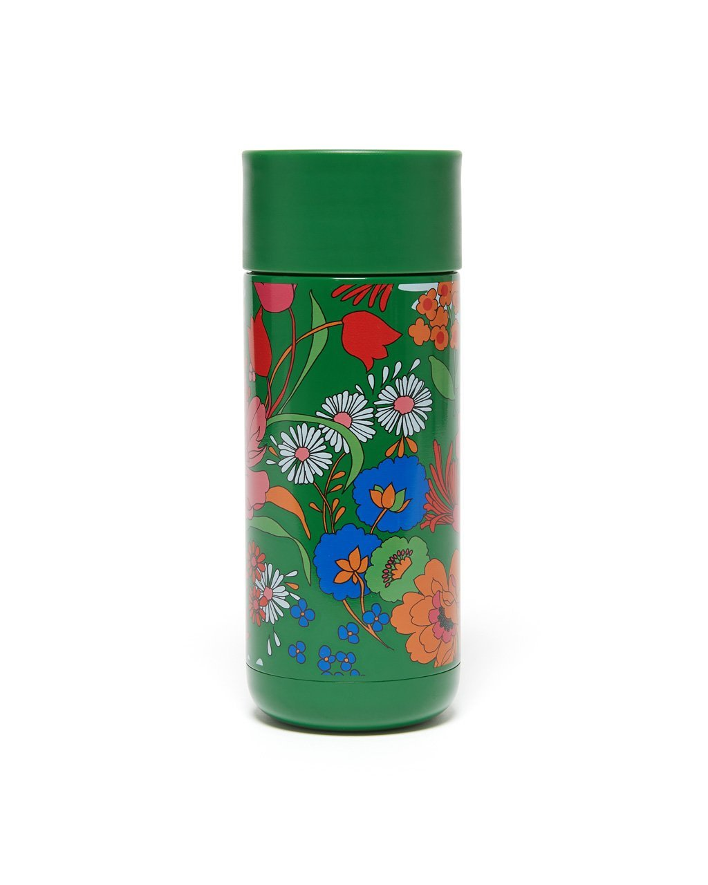 Green stainless steel thermal mug with floral pattern design