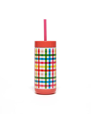 This Stainless Steel Tumbler comes in a rainbow plaid pattern.