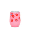 This Stainless Steel Wine Glass comes in pink, with a red daisy pattern throughout.