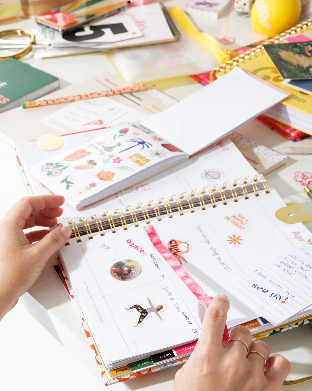 lifestyle image of sticker tape being used in a bando planner