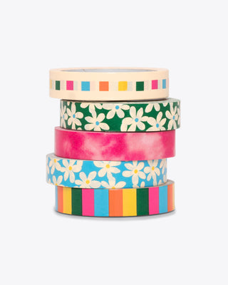 set of 5 multi pattern paper tape rolls