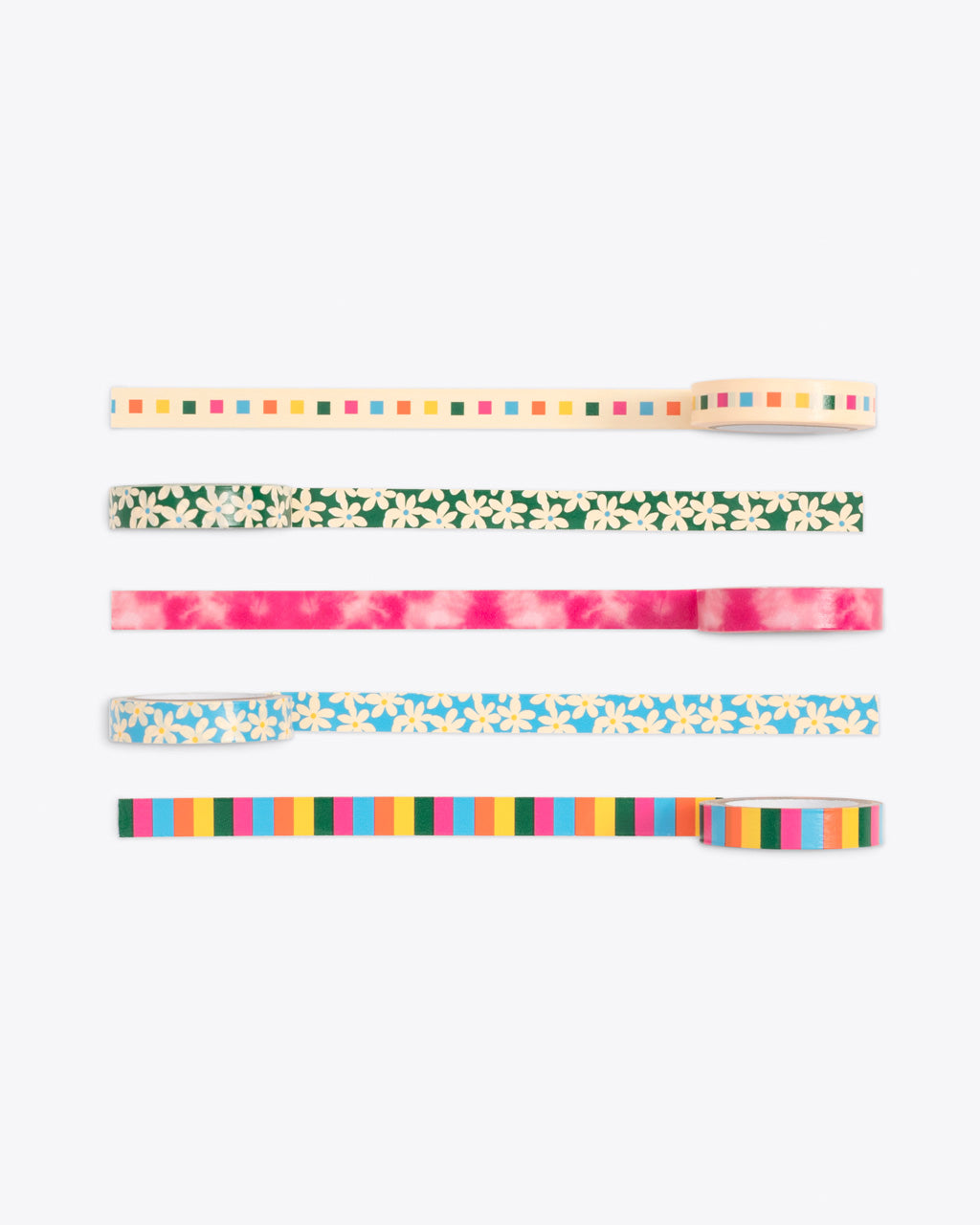 set of 5 multi pattern paper tape rolled out to show pattern detail