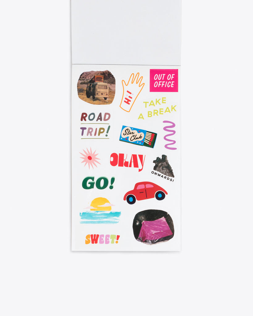interior image of sticker sheet containing road trip themed stickers