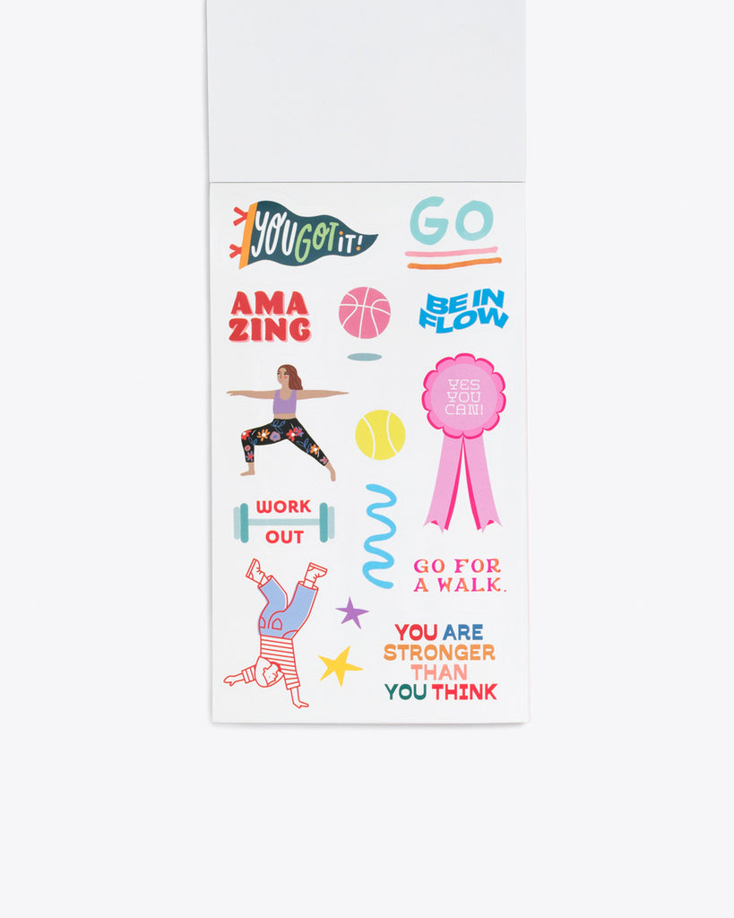 interior image of sticker sheet containing motivational themed stickers