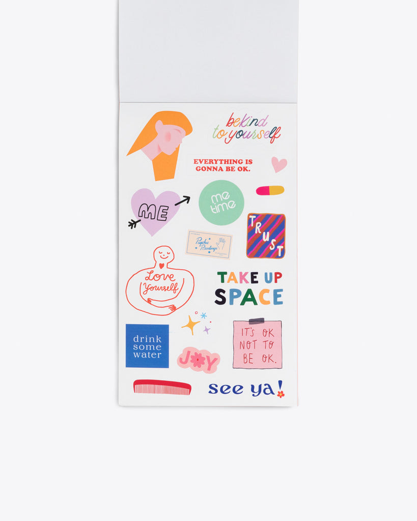 interior image of sticker sheet containing self care themed stickers